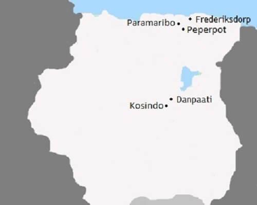 Kaart Avontuurlijke Vakantie naar Suriname