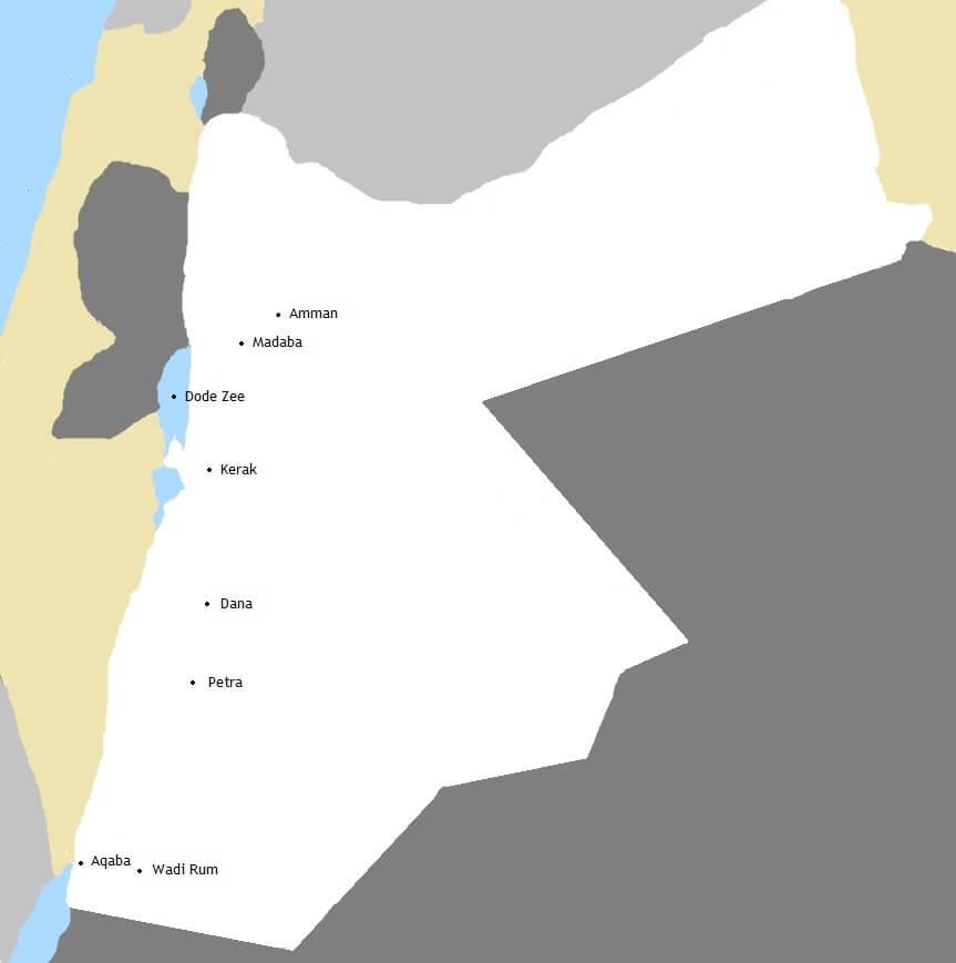 Kaart Jordanië rondreis - Op avontuur op de fiets
