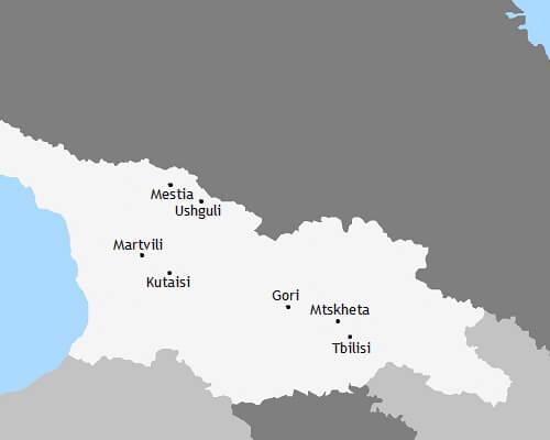 Kaart rondreis Georgië - Ontdek het Kaukasusgebergte