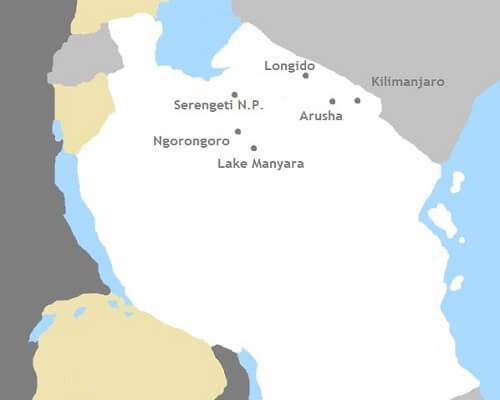 Kaart Tanzania rondreis (Bike Safari)