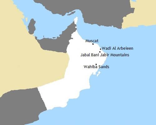 Kaartje Oman rondreis - Een offroad expeditie